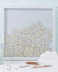 Here's a lovely baby shower guestbook idea - ask each guest to write a message on a wooden cloud and display them in a frame forever! Pick your wooden frame guestbook up at partydelights.co.uk where you can discover the rest of our Hello World baby shower supplies.