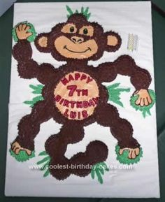 Homemade Funkiest Monkey Cake: I made this Funkiest Monkey Cake for my great-nephew's birthday which was held at a place called The Funky Monkey. It takes a lot of cupcakes, but this
