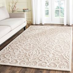 Shop for Martha Stewart by Safavieh Handmade Marais Wool Rug. Get free delivery On EVERYTHING* Overstock - Your Online Home Decor Store! Get in rewards with Club O! Living Room Carpet, Rugs In Living Room, Cozy Living, Diy Carpet, Hall Carpet, Carpet Ideas, Hand Tufted Rugs, Carpet Design, Room Rugs