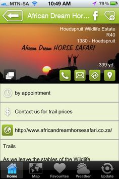 """African Dream Horse Safaris is a hAPPy activity - a """"what to do"""" listing on the Hoedspruit Info App"""
