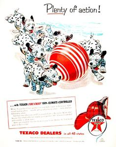 1955 Texaco Fire Chief Gasoline original vintage advertisement. Featuring the popular Dalmatian puppies cavorting on the beach.