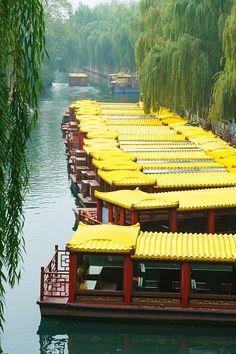 Riverboat on the City moat Jinan, Shandong, China