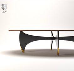 NEW COLLECTION DESIGNED BY ME tavolo in noce / base acciaio nero e ottone
