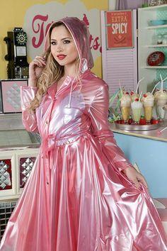 * Loving Latex and PVC - megson Pink Raincoat, Plastic Raincoat, Hooded Raincoat, Hooded Cloak, 1940s Fashion, Vintage Fashion, Vintage Style, Vintage Inspired, Trench Coats