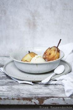 Fried Pears with Pear Gorgonzola Icecream