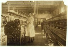 """Sept. 1911    Mamie Laberge at her Machine. Under legal age. Location: Winchendon, Mass.    Caption information from """"The Library of Congress."""""""