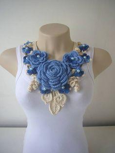 Colar Afrodite - Azul e Cru