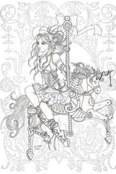 Precious Moments Coloring Picture See More Steampunk Carousel Lineart By Karla Chandeviantart On DeviantART