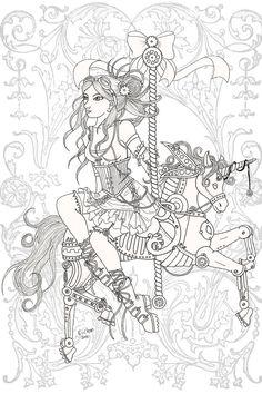 Steampunk Carousel Lineart by karla-chan.deviantart.com on @deviantART