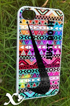 colorfull aztec nike black  iPhone 4/4s/5/5c/5s Case  by KALIDORO, $15.00