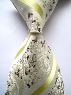 Necktie - Paisley Vanilla Gold Stripes 100% Silk  Necktie - On Sale for $19.99