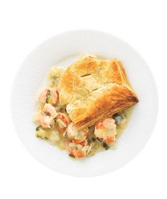 Shrimp Potpie With Fennel|Use frozen puff pastry to make this creamy, comforting dish in less than an hour.