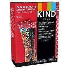 Kind Dark Chocolate Cherry Cashew + Antioxidants Nutrition Bars - 4ct