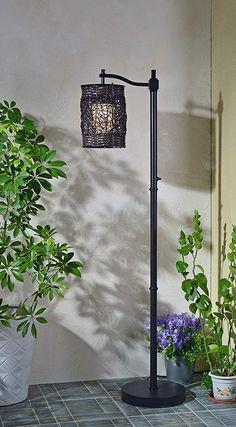 Kenroy Home Brent Outdoor Floor Lamp Rustic Floor Lamps, Outdoor Floor Lamps, Modern Floor Lamps, Outdoor Flooring, Woven Shades, Layers Design, Rustic Design, Ladder Decor, Bulb