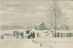 Postcard from Jessheim,NORWAY in Winter. (Vinter... Flere personer, hest og slede.)