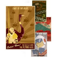 """Retro Videogame Propaganda Posters.  Hubby's request for art in the """"man cave.""""  Each one depicts one classic video game from the coin-op era, printed by the original artist, Steven Thomas  Each poster 15 inches by 22 inces"""
