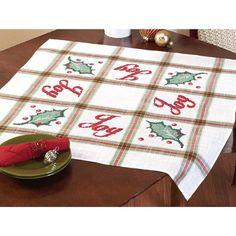 Joy Table Topper Counted Cross-Stitch Kit - Herrschners