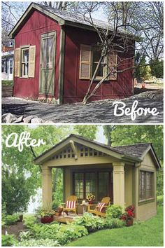 "Awesome way to do a ""guest room"" if your house is too small. This started out as a 12x12 shed. They added the porch, salvaged cottage windows and split shingle roof."