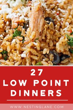 27 Weight Watchers Low Point Dinner Recipes - A months worth of healthy dinner ideas including Italian Shrimp Scampi, Southern Chicken and Dumplings, Pork Roast, Slow Cooker Chili, Vegetarian Minestrone Soup, and more! Low MyWW Points Meals Weight Watchers Diet, Weight Watcher Dinners, Weight Watchers Chicken, Weight Watcher Crockpot Recipes, Crockpot Rice Recipes, Low Calorie Dinners, Low Calorie Recipes, Healthy Dinner Recipes, Ww Recipes