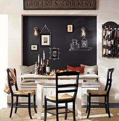 nook with chalkboard wall