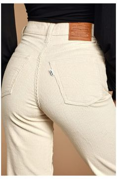 Retro Outfits, Cute Casual Outfits, Fall Outfits, Fashion Outfits, Fashion Pants, Foto Zoom, Ribbed Jeans, Beige Hose, Beste Jeans
