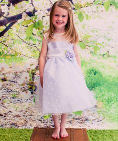 Another great find on #zulily! Lilac Polka Dot & Flower Dress - Toddler & Girls #zulilyfinds