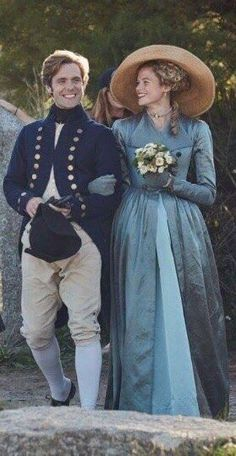Luke Norris as Dr Dwight Enys and Gabriella Wilde as Caroline on Poldark S3 BTS