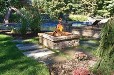 Wood Burning Fire Pit, Square Fire Pit Fire Pit Autumn Leaf Landscape Design Centerport, NY