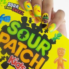 """Sour Patch Kids nails @sourpatchkids  Everything done with a toothpick I won't be doing a tutorial on these"" Photo taken by @gabbysnailart on Instagram, pinned via the InstaPin iOS App! http://www.instapinapp.com (06/02/2015)"