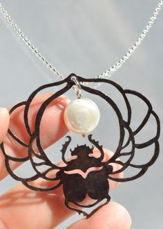 Egyptian Scarab Beetle With Coin Pearl by BlackRabbitStudio