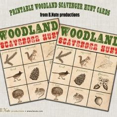 printable woodland scavenger hunt cards. great for a hike!