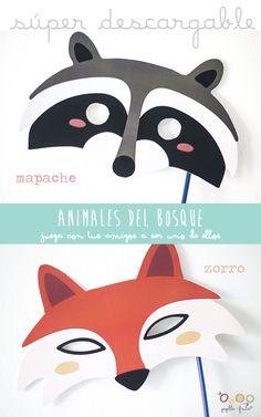 Máscaras descargables http://www.decopeques.com/mascaras-de-animales-para-descargar-e-imprimir-gratis/#more-29904