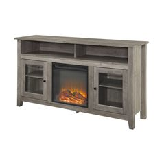 Tall Fireplace, Fireplace Tv Stand, Farmhouse Fireplace, Modern Fireplace, Fireplace Ideas, Transitional Fireplaces, Tv Stand Console, Flat Panel Tv, Living Room Storage