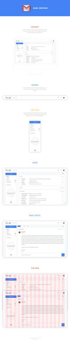 """다음 @Behance 프로젝트 확인: """"Gmail Redesign"""" https://www.behance.net/gallery/38859981/Gmail-Redesign"""