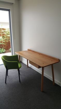The Phil Desk is an excellent companion for your home office or study. Designed and made in Australia by Studio Pip using solid American Oak with a contrasting coloured drawer. Pairs nicely with the Phil Stool. Wooden Desk, Home Office, Dining Bench, Drawers, Stool, Furniture, Design, Home Decor, Wood Desk