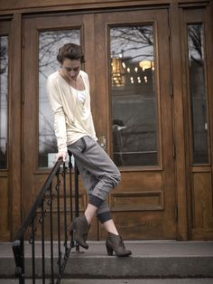 Eleanor Crew, in Eggshell. Cordelia Pant in Heather Cement/Heather Charcoal.    #karma #winter2012 Cannot get enough of this outfit.