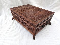 A Stunning Carved Anglo Indian Sandalwood Sewing Box