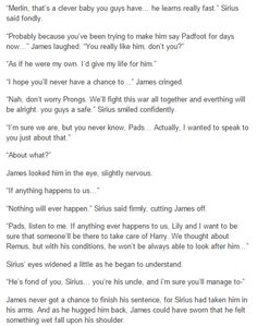 the marauders - James and Lily telling Sirius he is the godfather part 2