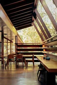roomonfire-good-design:  The Schaffer Residence, 1949 by American architect John Lautner. Hidden in a wooded valley at the foot of the Verdugo Mountains, the redwood, concrete and glass residence opens to the oak forest that influenced the form and orientation of the design. The property was used as the home of the title character in Tom Ford's 'A Single Man'.