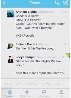 :D Joey and the Pacers. (hahahaha) Sorry Joey it's GO SPURS GO!!!!!!!