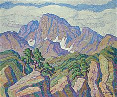"""The Great Peak,"" (Longs Peak), Sven Birger Sandzén, 1938, oil on canvas, 40 1/8 x 48 1/8"", Nelson-Atkins Museum of Art."