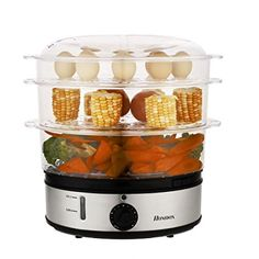 Electric Food Steamer Steam Cooker Three Tiers Home Kitchen Favor Hdpml, Silver