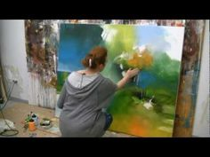 Abstract acrylic painting demo , Acrylmalen abstrakt im Großformat by Isabelle Zacher-Finet