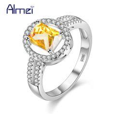 Almei Wedding Rings Green Stone Ring  Jewelry Charms Silver Aneis Best Friends Joyeria Strass Cristal Bijoux Fille Brand Y3377 #Affiliate