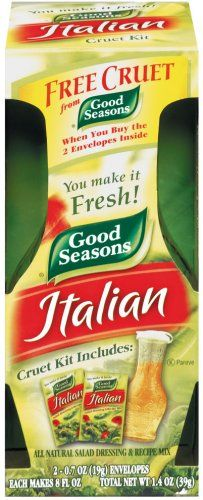Good Seasons Italian Dressing Mix, 2 Packages with Cruet, 1.4 Oz. Net $7.95. All Natural. Preservative free. Can buy just the packets once your have the cruet. This is linked to a DIY homemade recipe for this dressing.