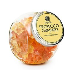SugarSin® Prosecco Gummies - from Lakeland At last gummy bears have grown up! With the taste of sweet, sparkling Prosecco, these delicious little jelly bears tingle on your tongue with a hint of frizzante flavour. A perfect stocking filler for any fan of the bubbly Italian wine, the pretty little glass jar would also make a lovely 'just because you're you' gift.