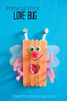 These glittery popsicle stick love bugs make a cute and fun Valentine's Day craft for kids. You can even attach magnets to the back of them and display them on your fridge.