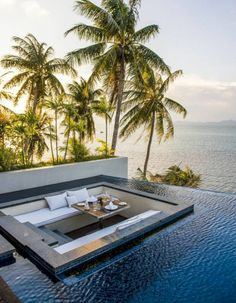 41 Cozy Tropical Beach Villa Design Ideas - About-Ruth Amazing Swimming Pools, Swimming Pools Backyard, Swimming Pool Designs, Infinity Pool Backyard, Pool Landscaping, Villa Design, Terrace Design, Garden Design, Moderne Pools