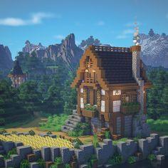 Minecraft Medieval House, Minecraft Small House, Minecraft House Plans, Minecraft Mansion, Minecraft Cottage, Cute Minecraft Houses, Minecraft City, Minecraft Room, Minecraft Construction
