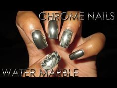 Chrome Nails with Chrome Water Marble Accent | DIY Nail Art Tutorial - YouTube